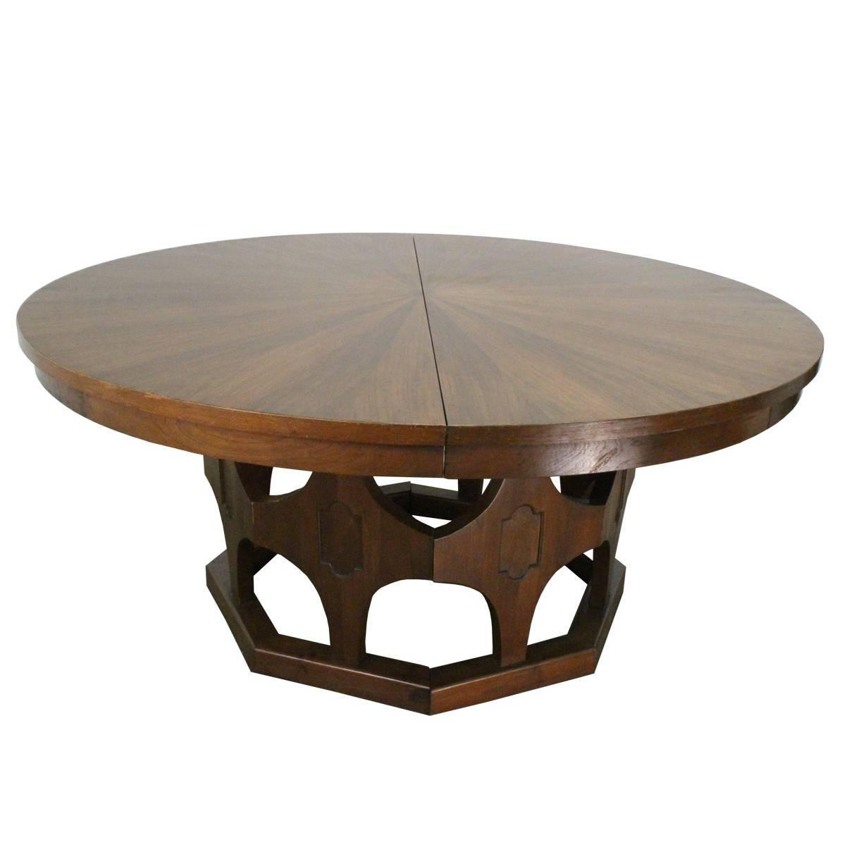 1960s Mid Century Expandable Round Walnut Dining Table At 1stdibs