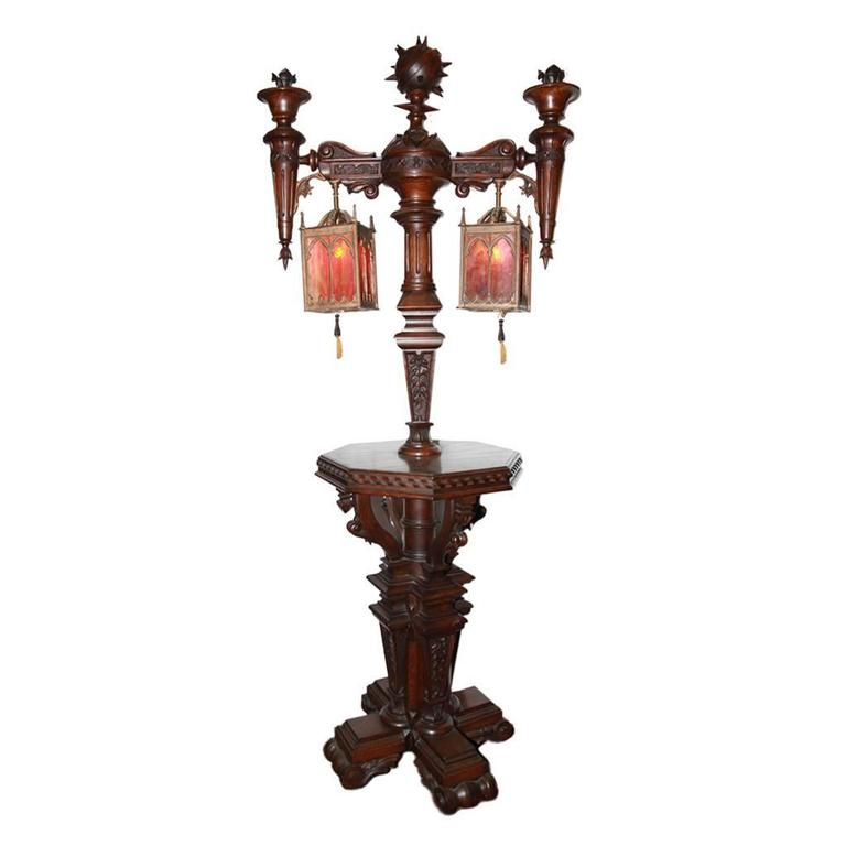 Vintage Table With Lamp Attached : Antique gothic revival floor lamp with attached table at