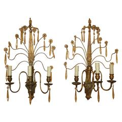 Pair of Early 20th Century Bronze and Crystal Sconces
