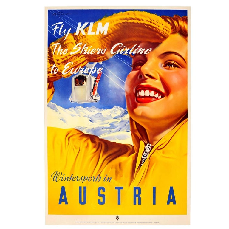 Original Vintage Skiing Poster by Paul Aigner - Wintersports in Austria Fly KLM For Sale