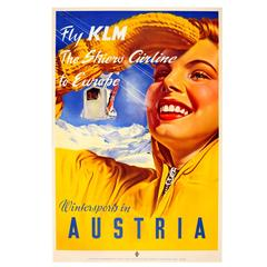 Original Vintage Skiing Poster by Paul Aigner Wintersports in Austria, Fly Klm