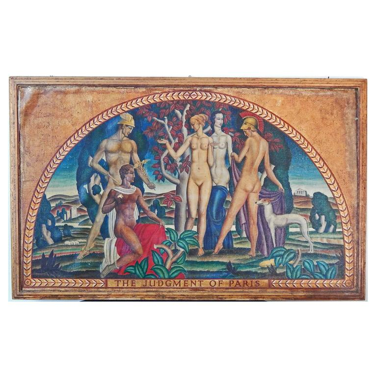 """""""the Judgment of Paris,"""" Fabulous Art Deco Mural with Nudes by Machin For Sale"""