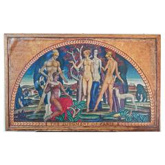"""the Judgment of Paris,"" Fabulous Art Deco Mural with Nudes by Machin"