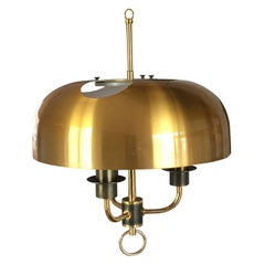 Three Lights Chandelier in Gilt Metal and Brass, Denmark, Early 1970s