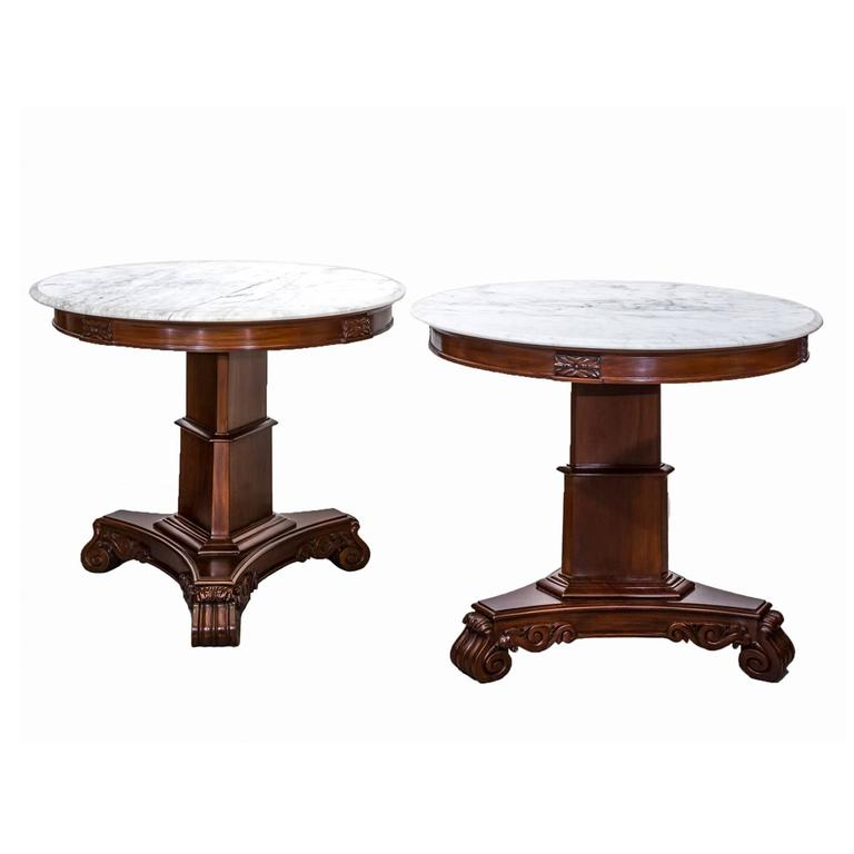 Marble Top Coffee Table India: Pair Of Antique Anglo-Indian Or British Colonial Mahogany