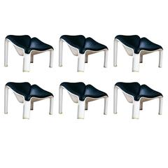 set of 6 Pierre Paulin Artifort F300 lounge chairs, exterior or interior use
