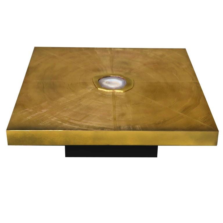 Signed Brass Acid Etched And Agate Inset Coffee Table Made
