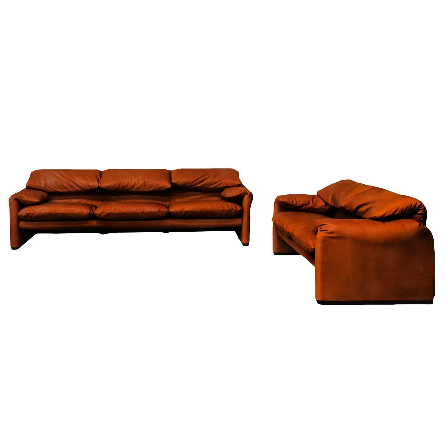 "Vintage Cognac Leather ""Maralunga"" Sofas by Vico Magistretti for Cassina"