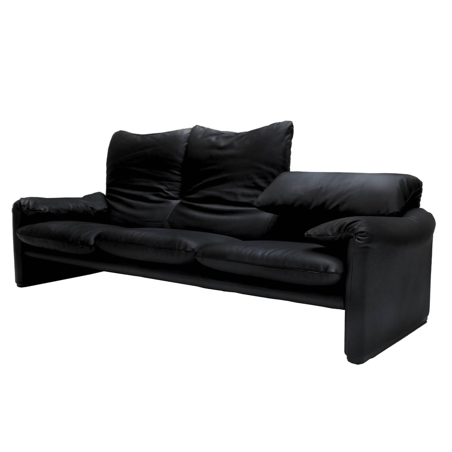"Three Seater Black Leather Sofa ""Maralunga"" by Vico Magistretti"