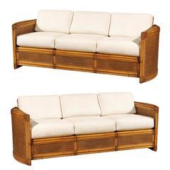 Exceptional Restored Vintage Rattan Sofa
