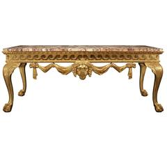 English 19th Century George II Giltwood Console and Breche Violette Marble Top