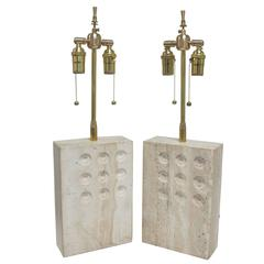 Pair of Rectangular Travertine Table Lamps with Circular Impressions by Raymor