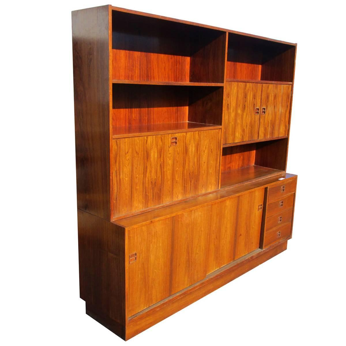 Vintage Rosewood Poul Hundevad Wall Unit Bookcase Drop