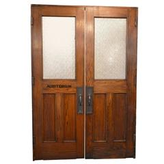 Vintage Auditorium Doors in Oak with Textured Glass and Original Hardware