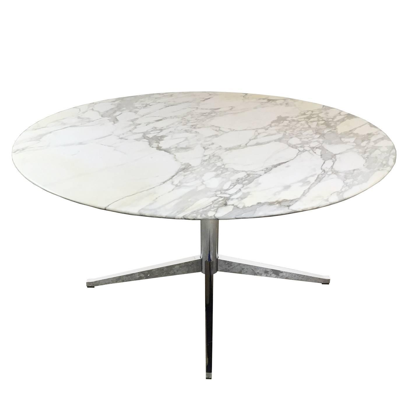 Round Carrara Marble Dining Conference Table By Florence Knoll At