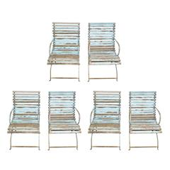 Set of French Slated Wooden Armchairs