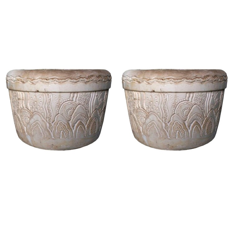 Charles Hairon, Pair of Large Flower Pot, circa 1920 For Sale