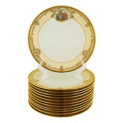 Set of 12 Dinner Plates Dresden Hand Painted Ambrosius Lamm Gilt Vintage