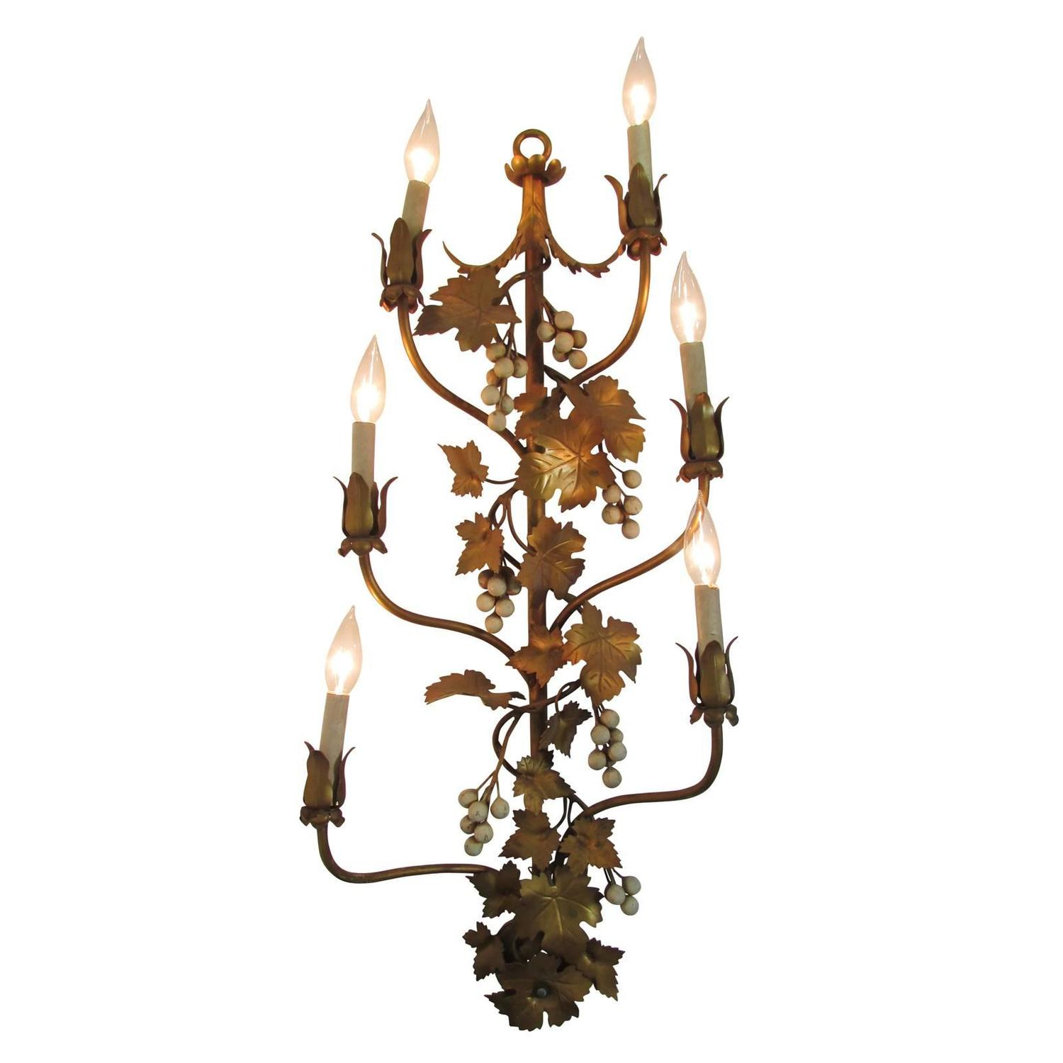 Wall Sconces With Vines : Gilded Six Candelabra Grape Vine Sconce at 1stdibs