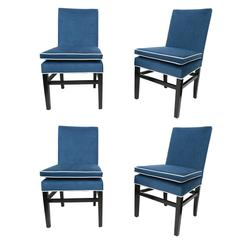 Set of Four Indigo Silk Velvet Dining Chairs Attributed to Edward Wormley