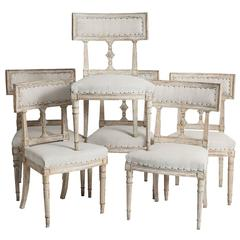 Set of Six Antique Swedish Late Gustavian Period Dining Chairs