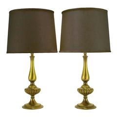 Pair of Rembrandt Lighting Solid Brass Regency Table Lamps