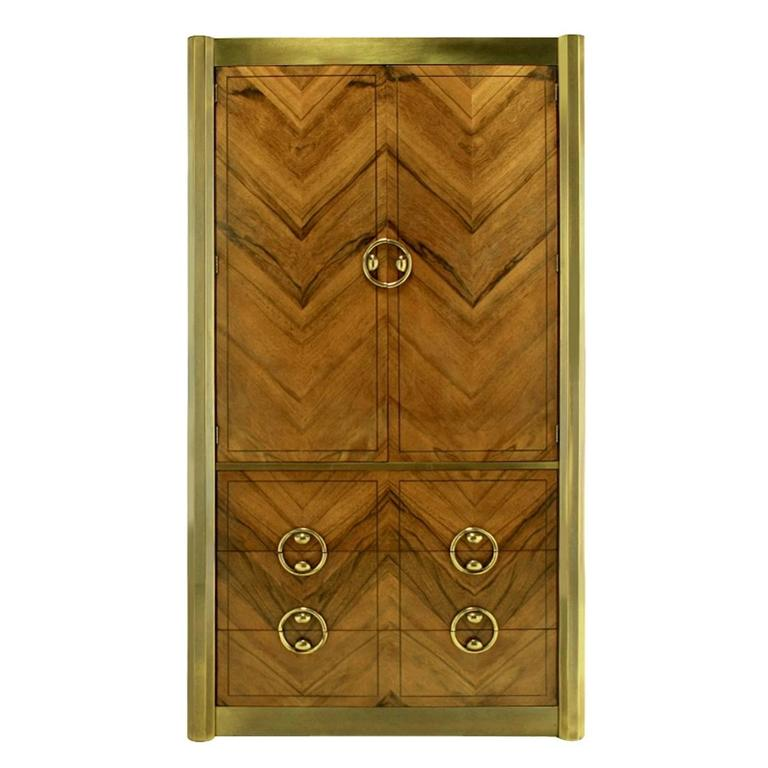Mastercraft Zebrano Wood and Patinated Brass Tall Wardrobe Cabinet