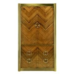 Mastercraft Zebrano Wood and Patinated Brass Tall Wardrobe Cabinet