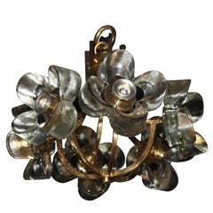 Murano Mazzega Glass and Brass Flower Chandelier