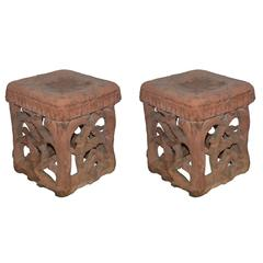 Pair of French Square Terra Cotta Stool Side Tables