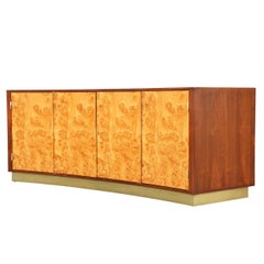 Edward J. Wormley Olive Burl and Walnut Curved Front Credenza for Dunbar