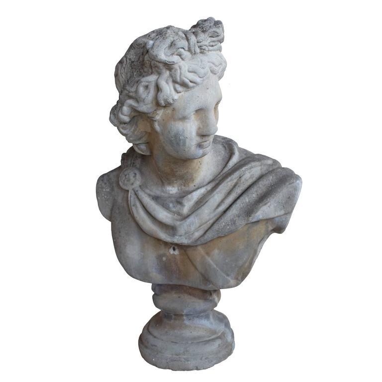 Vintage English Roman Bust Of Apollo