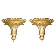 Pair of 19th-20th Century Large English Giltwood Brackets