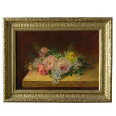 """Roses on the Table"" Old French Painting, oil on canvas"