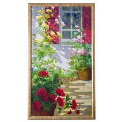 "Renato Criscuolo ""My Garden"" Italian Painting, oil on canvas"