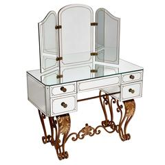 French Mirrored Dressing Table with Gilt Iron Cabriole Base, Circa1950