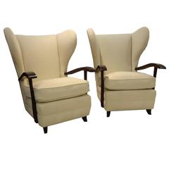 Paolo Buffa Attribution Pair of Mid-Century Wingback Club Chairs, circa 1950