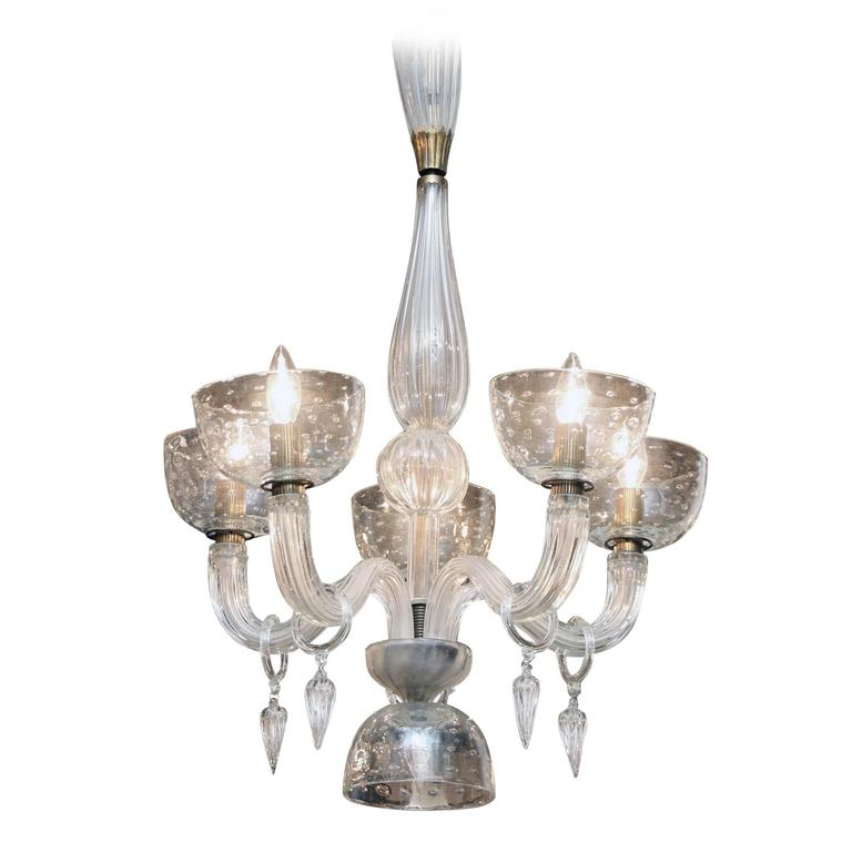 Modern Arm Chandelier: Segusa Italian Blown Glass And Brass Mid-Century Modern
