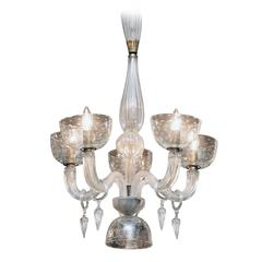 Segusa Italian Blown Glass and Brass Mid-Century Modern Five-Arm Chandelier