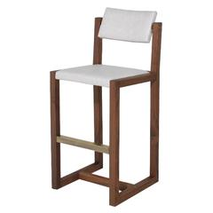 Pamela Bar Stool with Solid Brass Cleat by Thomas Hayes Studio