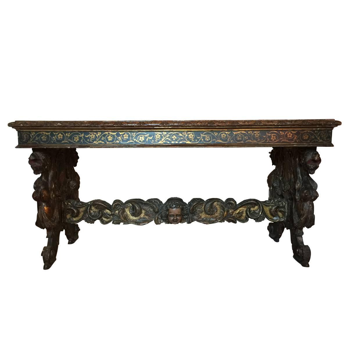 Beau Antique Spanish Renaissance Style Walnut Polychrome And Gilt Table Or Desk  At 1stdibs