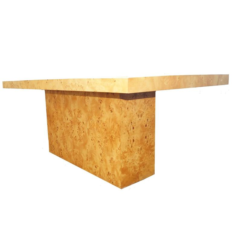 Milo Baughman Burl Wood Dining Table For Sale