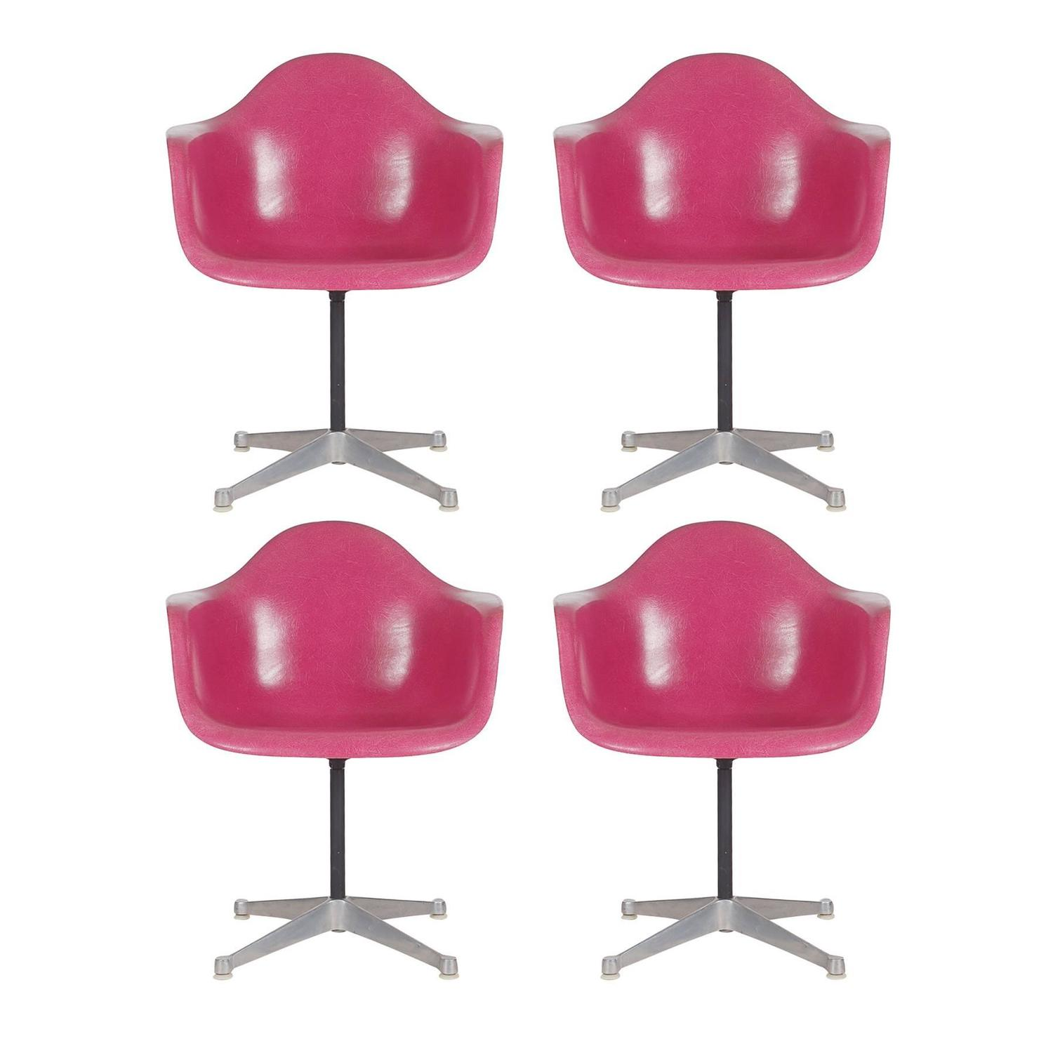 Rare Set of Four Hot Pink Fiberglass Chairs by Charles Eames for