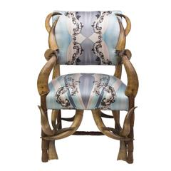 19th Century Steer Horn Armchair Upholstered in Pucci Silk