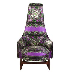 Adrian Pearsall Attributed High Back Chair Upholstered in Dolce & Gabbana Silk
