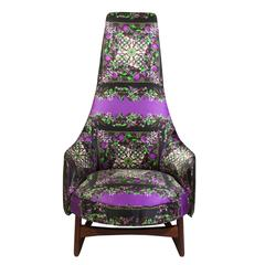 Adrian Pearsall High Back Chair Upholstered in Dolce & Gabbana Silk