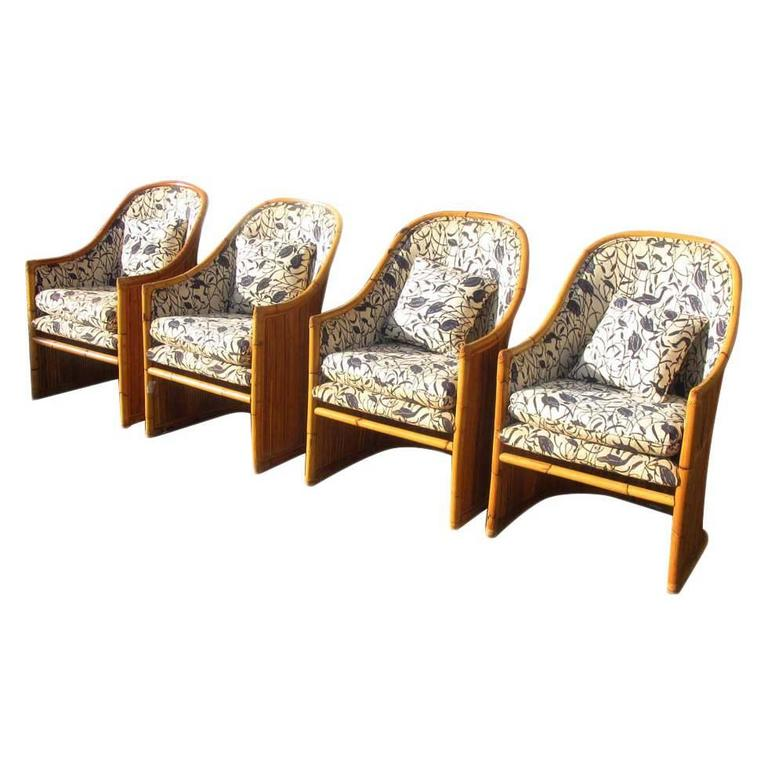 Vintage mid century mcguire rattan dining chairs reduced for Reduced furniture