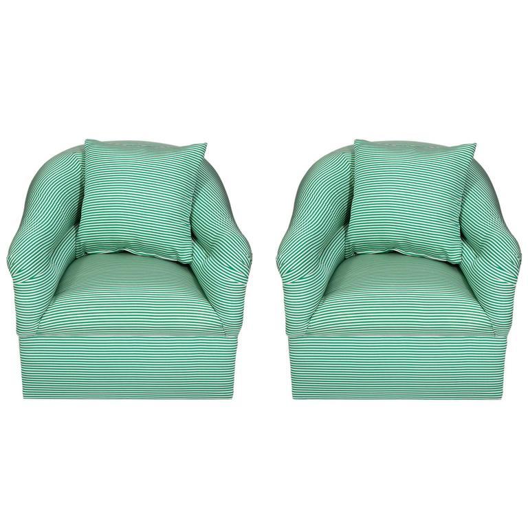 Pair of Milo Baughman Swivel Barrel Chairs in Oscar De La Renta Silk
