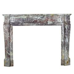 19th Century Louis XVI Style Fireplace Mantel in Violet Marble