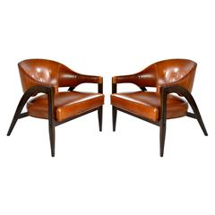 "Edward Wormley Inspired ""A-Frame"" Lounge Chairs in Cognac Leather"